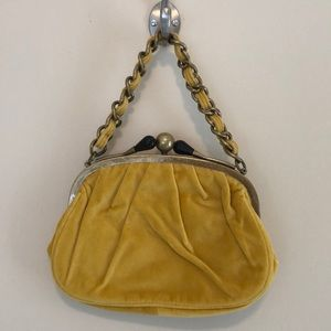 BNWT J Crew yellow suede small bag chain strap